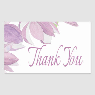 Floral Thank You Watercolor Purple Flowers Rectangular Sticker