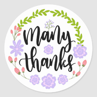 Floral Thank You Watercolor Purple Flowers Wedding Classic Round Sticker