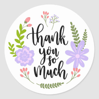 Floral Thank You Watercolor Purple & Green Flower Classic Round Sticker