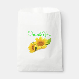 Floral Thank You Yellow And Green Sunflower Favour Bags
