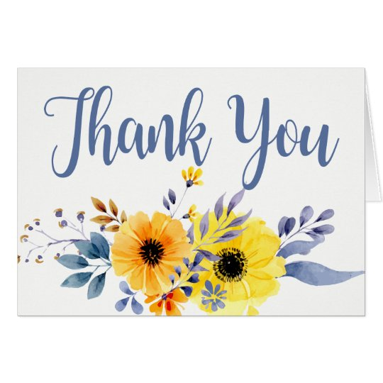 Floral Thank You Yellow Blue Watercolor Flowers Card