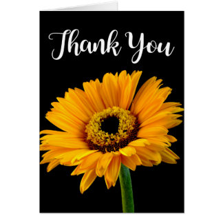 Floral Thank You Yellow Orange Flower Black Card