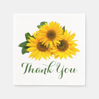 Floral Thank You Yellow Sunflower Wedding / Party Disposable Serviettes
