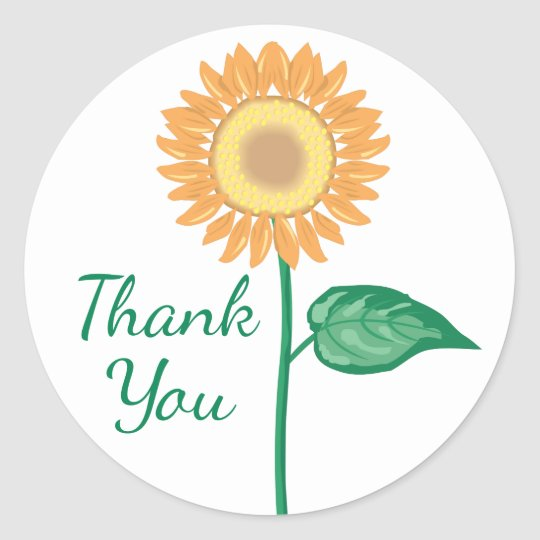 Floral Thank You Yellow Sunflowers Green Flower Round