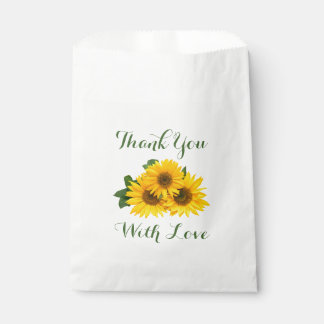 Floral Thank You Yellow Sunflowers Green Love Favour Bags