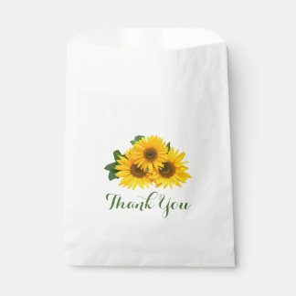 Floral Thank You Yellow Sunflowers Green Party Favour Bags