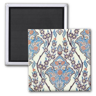 Floral Tile, Turquoise Square Magnet