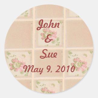 Floral Tiles Round Sticker