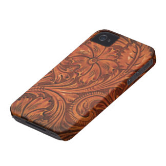 floral tooled leather style iphone iPhone 4 cases