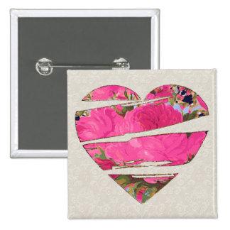 Floral Torn Heart Motif Button