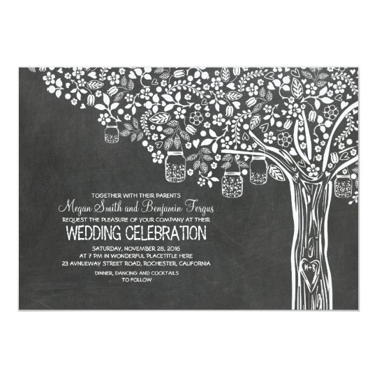 Floral Tree Mason Jar Lights Chalkboard Wedding Card