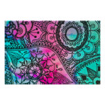 Floral Tribal Pattern Pink and Aqua Poster