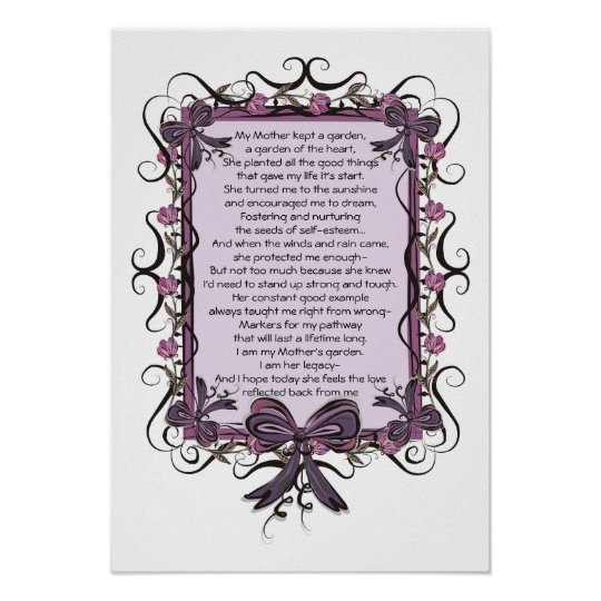 Floral Tulip Framed Mothers Day Poem Print Zazzle Co Uk