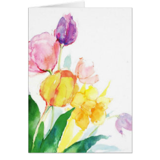floral tulip watercolor card