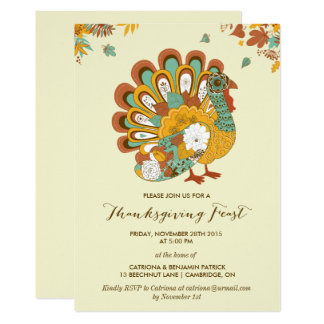 Floral Turkey Rustic Thanksgiving Feast Invitation