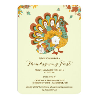 Floral Turkey Rustic Thanksgiving Feast Invitation