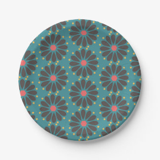 Floral - turquoise 7 inch paper plate