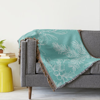 Floral Turquoise Christmas Pattern Throw Blanket