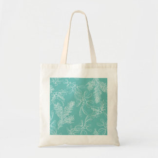 Floral Turquoise Christmas Pattern Tote Bag
