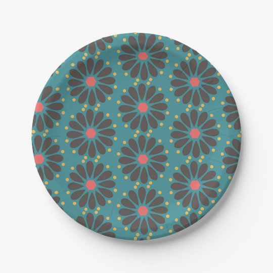 Floral - turquoise paper plate