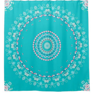 Floral Turquoise Pink Mandala Shower Curtain