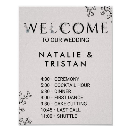 Wedding Order Of Events | Floral Typography Wedding Order Of Events Poster Zazzle Co Uk