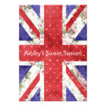 Floral UK Union Jack Flag Polka Dots Sweet 16 Personalized Announcements