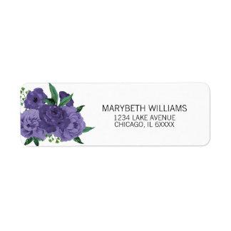 Floral Ultra Violet Purple Bridal Address Labels