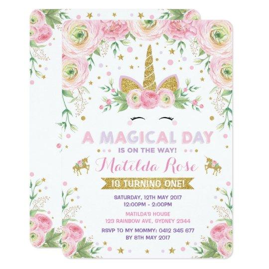 Floral Unicorn Birthday Invitation Pink Gold Party