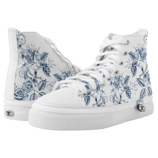 Floral Unicorn: Blue High Tops