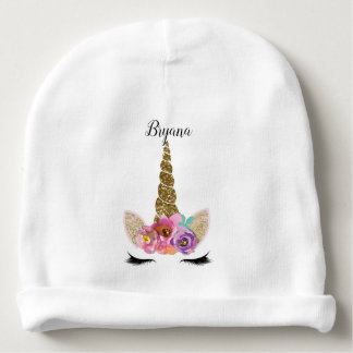 Floral Unicorn Gold Glitter Girly Girls Custom Baby Beanie