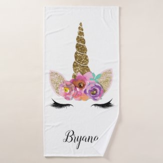 Floral Unicorn Gold Glitter Girly Girls Sparkle Bath Towel Set