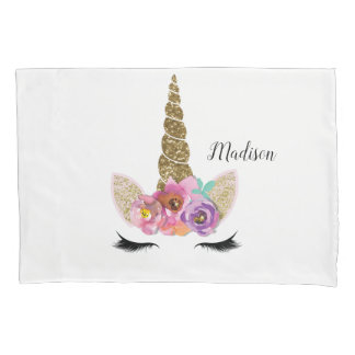 Floral Unicorn Gold Glitter Girly Girls Sparkle Pillowcase
