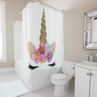 Floral Unicorn Gold Glitter Glam Girls Sparkle Shower Curtain