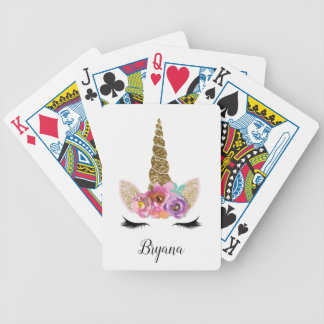 Floral Unicorn Gold Glitter Glam Personalized Bicycle Playing Cards