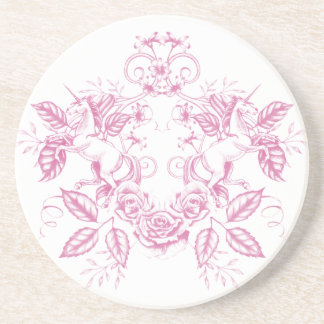 Floral Unicorn: Pink Coaster