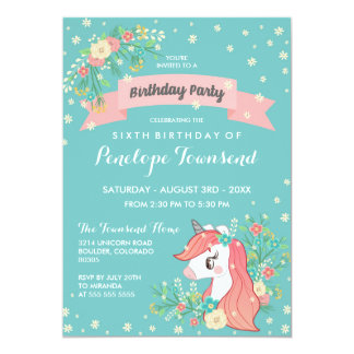 Floral Unicorn Turquoise Birthday Party Card