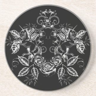 Floral Unicorn: White on Black Coaster
