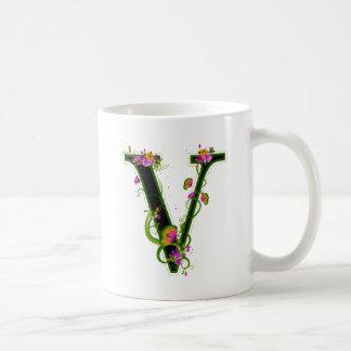 Floral V Basic White Mug