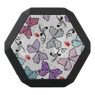 Floral Valentine Pattern Black Bluetooth Speaker