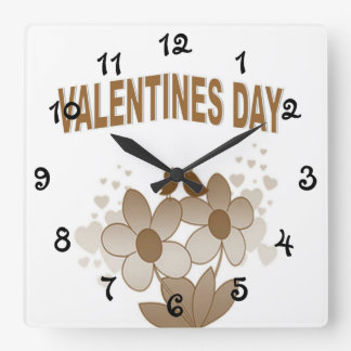 Floral Valentines Day Square Wall Clock