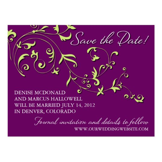 Floral Vine Save the Date Postcard