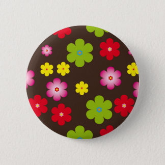 Floral vintage background 6 cm round badge