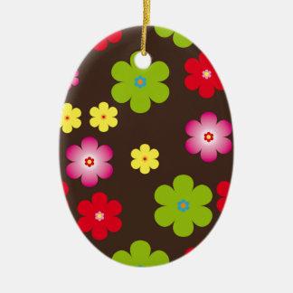 Floral vintage background ceramic oval decoration