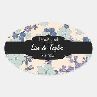 Floral vintage background oval sticker