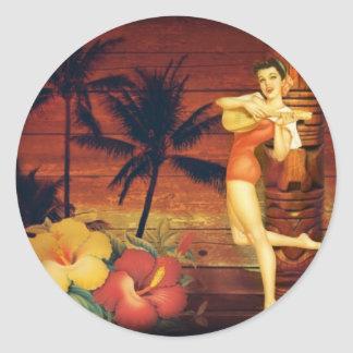 Floral vintage beach hawaii fashion round sticker