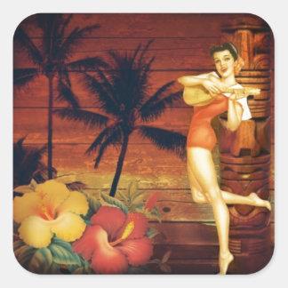 Floral vintage beach hawaii fashion square sticker