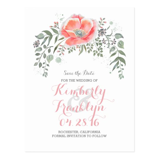 Floral Vintage Boho Wreath Save the Date Postcard