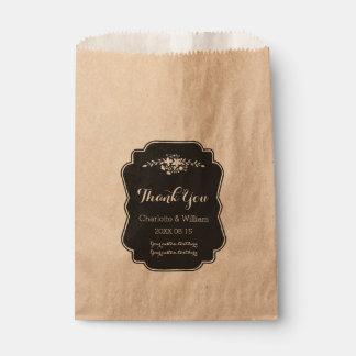 Floral Vintage Chalkboard Wedding Favor Bags Favour Bags