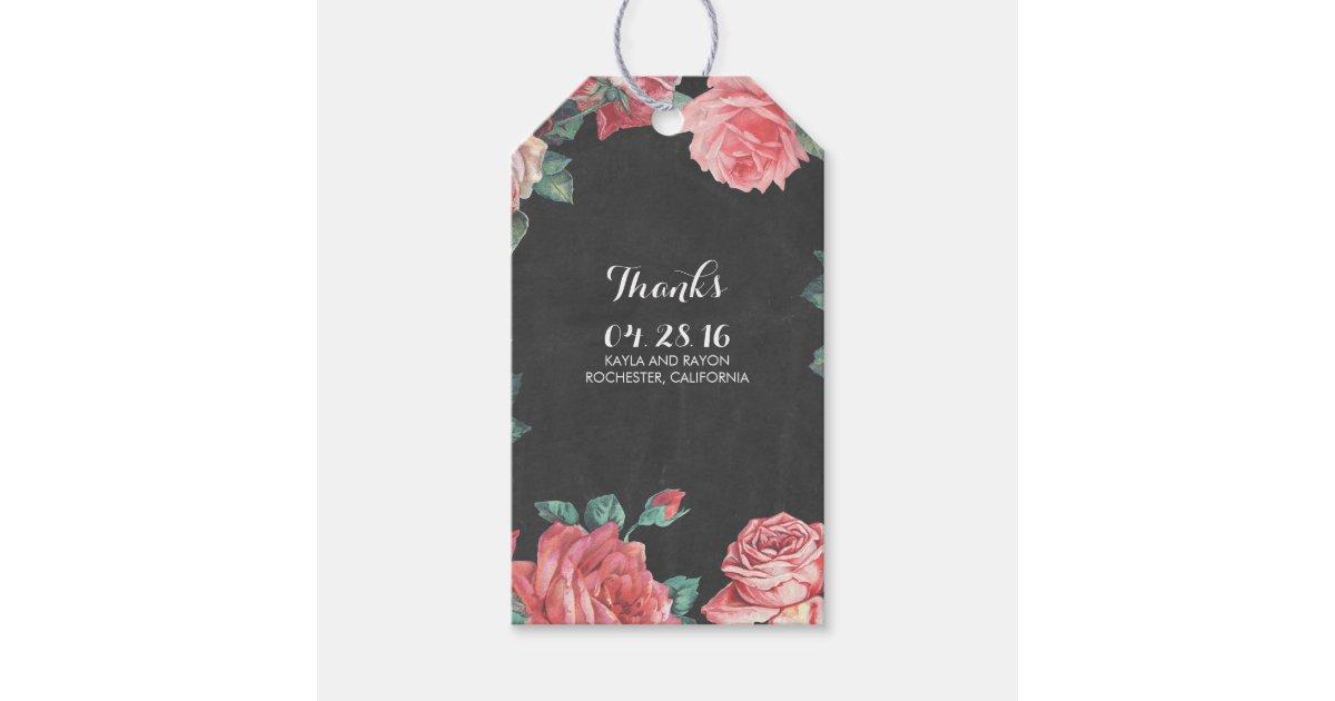 Floral Vintage Chalkboard Wedding Gift Tags Zazzle
